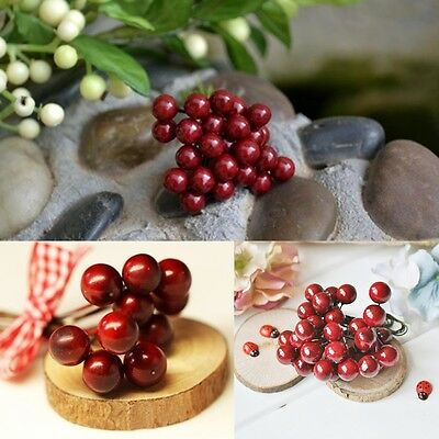 100x Artificial Red Holly Berries 8mm Home Photography Garland Christmas Decor