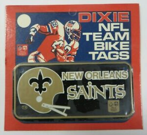 Vtg-1970-039-s-Dixie-NFL-Team-NEW-ORLEANS-SAINTS-Bike-Tag-License-Plate-Bicycle-NEW