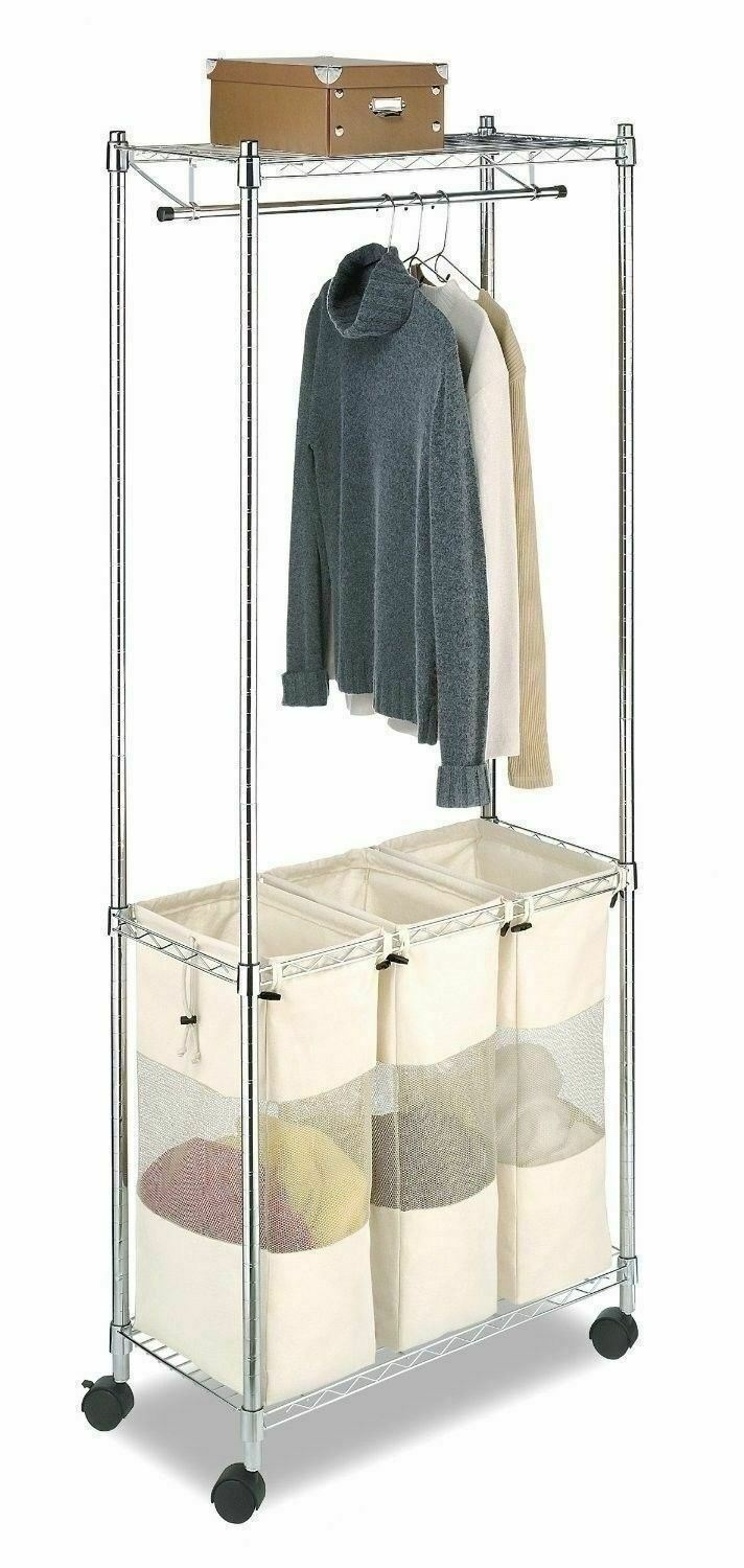 Casters and Brakes SONGMICS Cart Sorter Rolling Laundry Basket Hamper Gray URLS70GS with 3 Removable Bags