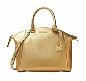 Michael-Kors-Riley-Large-Leather-Satchel-Bag-Metallic-Handbag-Gold-NEW-368