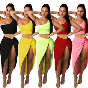 Fashion-Women-Two-Piece-Bodycon-Skirt-Set-Casual-Clubwear-Party-Crop-Tops-Dress