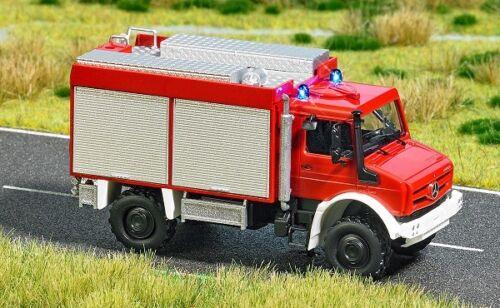 H0 Mercedes Unimog U 5023 Feuerwehr Mit Blaulicht Neu Busch 5599-1//87