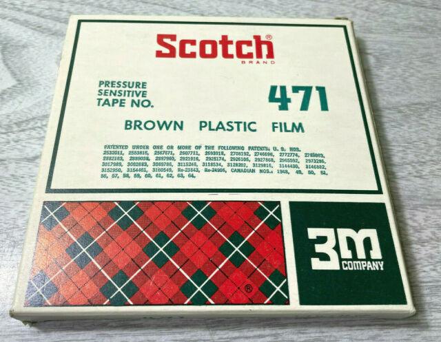 "Vintage Unused Scotch 3M Pressure Sensitive Tape Brown Plastic Film No. 471 1/2"""