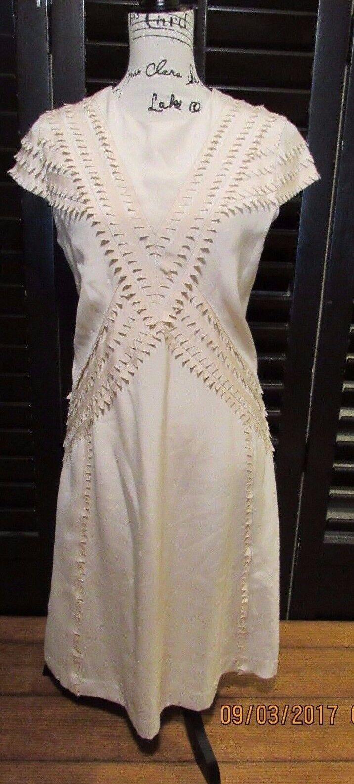 Nuevo con etiquetas Charles Youssef Original  Diseño Zigzag Cruz Con Textura Marfil Vestido Talla 8  forma única