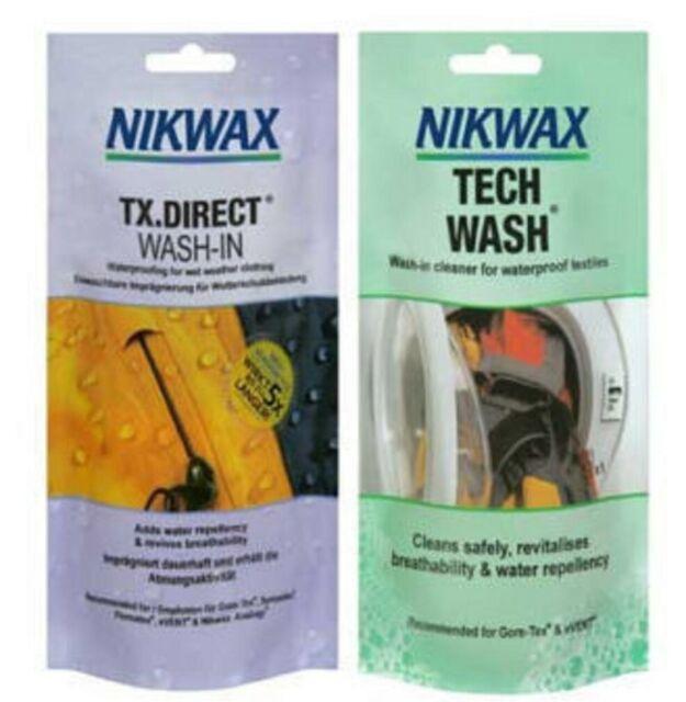 NIKWAX TECH WASH TX DIRECT POUCH TWIN PACK high performance washin waterproofing