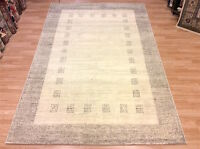 Natural Cream Grey Bordered Modern Contemporary Quality Wool Rug 120x170cm -50%