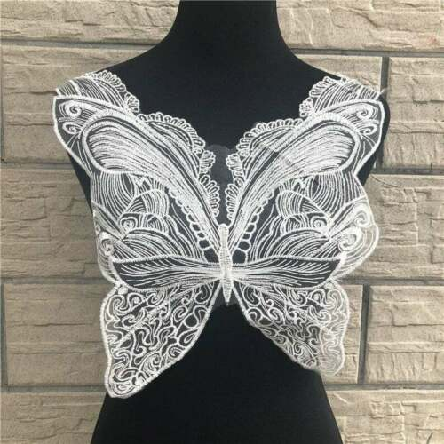 Large Butterfly Embroidered Lace Applique Patch Sewing Bridal Wedding Dress DIY