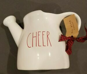 NWT-Rae-Dunn-CHEER-Ceramic-Watering-Can-Christmas-Holiday-Gift-Red-LL-by-Magenta