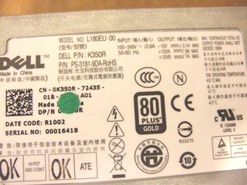 Dell power supply OptiPlex 780 L180EU-00 180W USFF PS-3181-9DA M178R 1VCY4 K350R