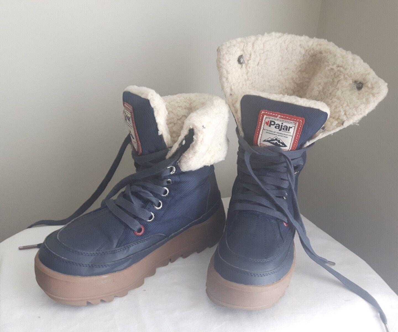 Ladies PAJAR CANADA waterproof winter boots roll over fur cuff USA 5-5.5