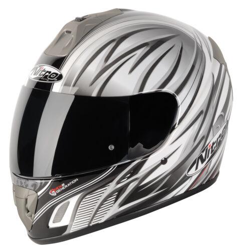 Nitro NGFP Talisman Pinlock Prepared Motorbike Helmet White Gun Black XS XL