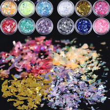 Art 12Colors Manicure Nail Mylar Glitter Paper Acrylic Decoration Ice Foil Shell