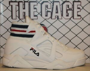 Mens Fila THE CAGE White Navy Red Mid