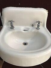Vintage Antique White Cast Iron Porcelain Bathroom Sink with Faucets 1916, 1930