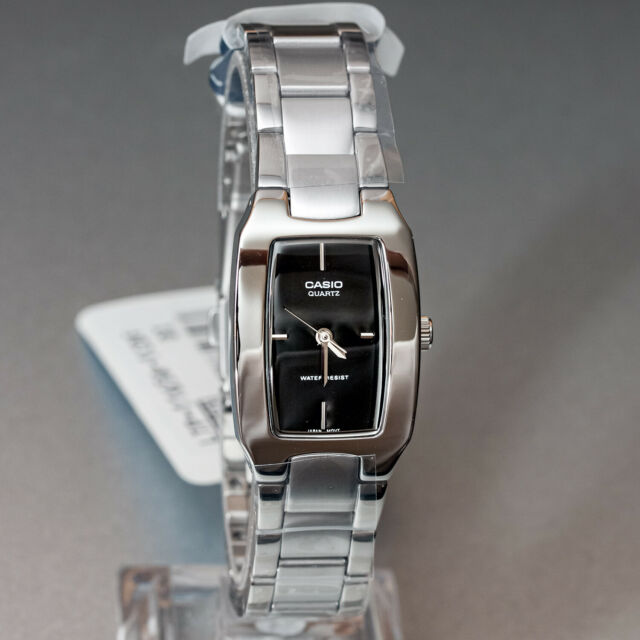 Casio LTP-1165A-1C Ladies Stainless Steel Analog Casual Watch Black Dial New