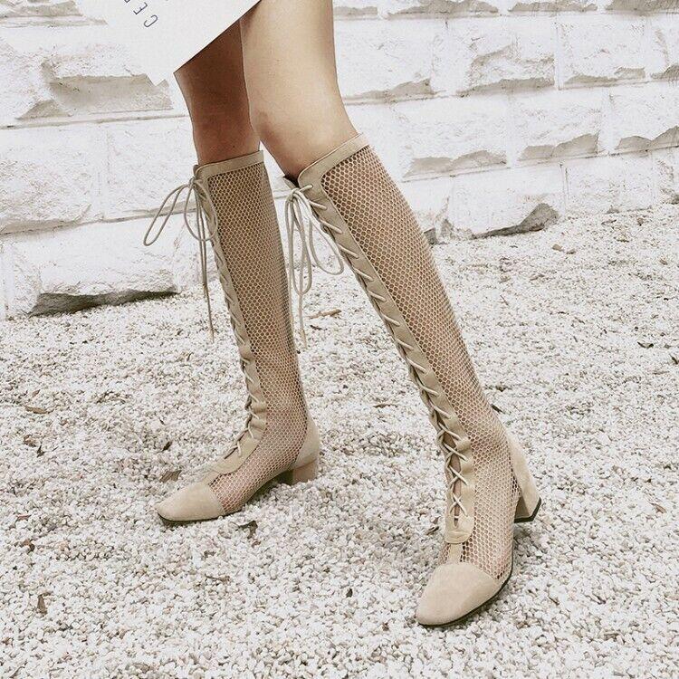 Mujer botas De Gamuza Hueco Rodilla Alto Tacones Gruesos Sandalias Zapatos Con Cordones Puntera rojoonda