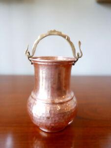 "Vintage Hand Forged Hammered Solid Copper Brass Flower Pot Vase 5.5"" x 4"" W"