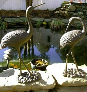 """Egrets Pair- 28"""" and 24"""" High - Cast Iron Antique Rust Finish"""