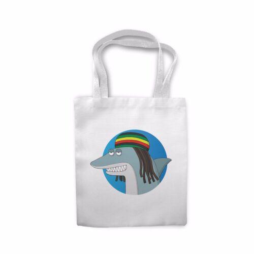 Cool Retro Reggae Shark Jamaican Rasta Sofa Cushion Cover Shopping Tote Bag
