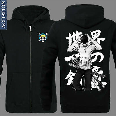 Anime ONE PIECE Roronoa Zoro Hoodies Sweatshirts Zipper Jackets Cosplay Jacket