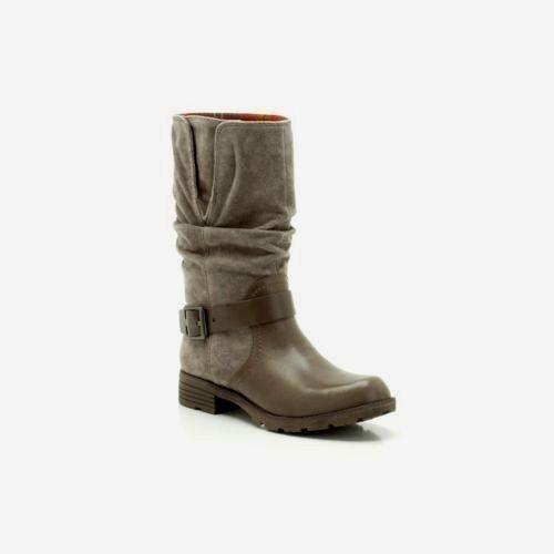 NEW Clarks Damenschuhe Damenschuhe Clarks Leder Stiefel NATIONAL SPICE Mid Calf Biker Grau Winter Pullon 9702b7