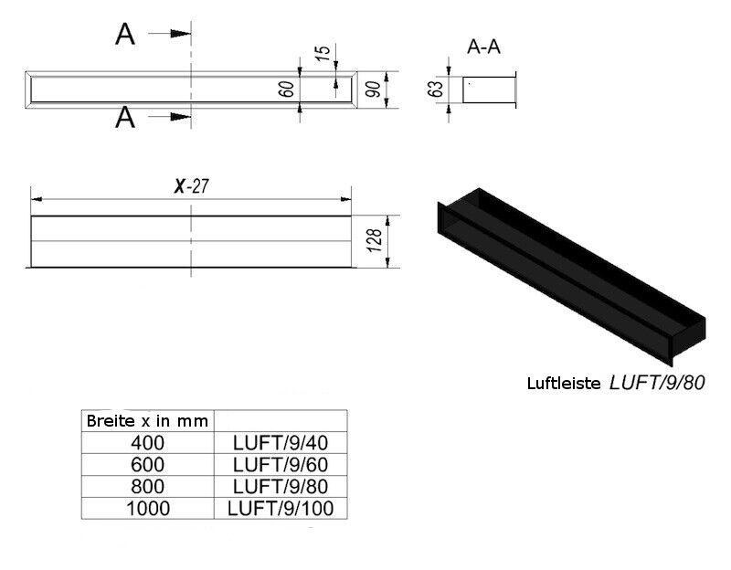 Luftleiste Ventilationsrahmen modernes Kamingitter Kamingitter Kamingitter 1000 x 90 mm in schwarz a4e98c