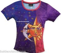 Laurel Burch Sun Moon Stars T Shirt Short Sleeve Polyester Purple Small/medium