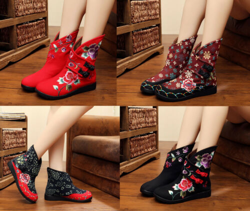 Womens Chinese Embroidered Folk Handmade Floral Cloth Boots Soft Sole Flat Shoes