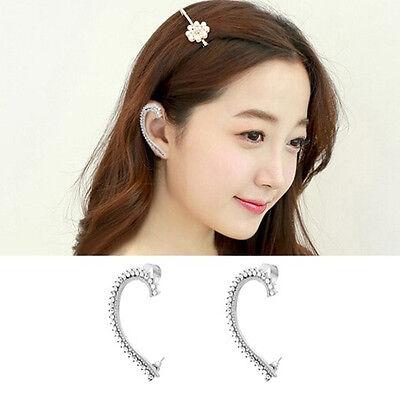 New Silver Jewelry Ear Cuff Crystal Rhinestone Clip On Stud Earrings With Earnut
