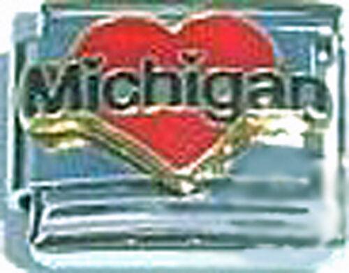 Italian Charm émail Love Coeur Michigan Mi État Américain