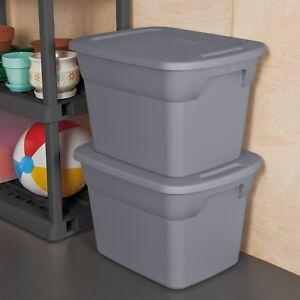 Image is loading 8-Plastic-Tote-Box-18-Gallon-Gray-Steel- & 8 Plastic Tote Box 18 Gallon Gray/Steel Stackable Storage Bin ...