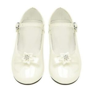 GIRLS TODDLER Flower Rhinestone DRESS SHOES Wedding Birthday Pageant WHITE//IVORY