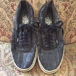 7e4cd08e5b Vans Black Sequins Women s 9.5 Men s 8 Sparkle Shoes Bling Lace Up ...