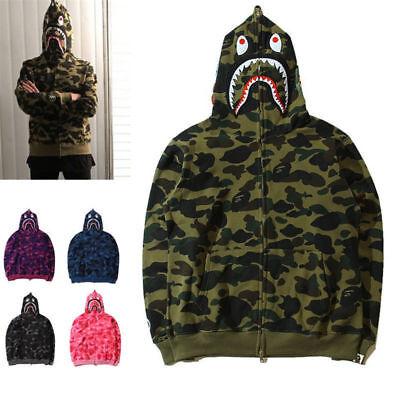 Hot Bathing Ape Bape Shark Jaw Men/'s Sweats Coat Jacket Camo Full Zipper Hoodie.