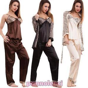 Pigiama-donna-liscio-lucido-maculato-3-pezzi-canotta-intimo-lingerie-nuovo-A-74