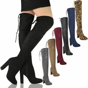 WOMENS LADIES THIGH HIGH BOOTS OVER THE KNEE PARTY STRETCH BLOCK MID HEEL SIZE
