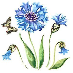4-pcs-Blue-Cornflower-Flower-Butterfly-2-034-Waterslide-Ceramic-Decals-Bx
