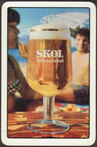 Playing-Cards-1-Single-Card-Old-IND-COOPE-Brewery-SKOL-LAGER-BEER-Advertising-B