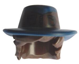 Lego-Haare-in-dunkelbraun-mit-Hut-in-dunkelblau-mit-Aufdruck-45775pb01-Movie-Neu
