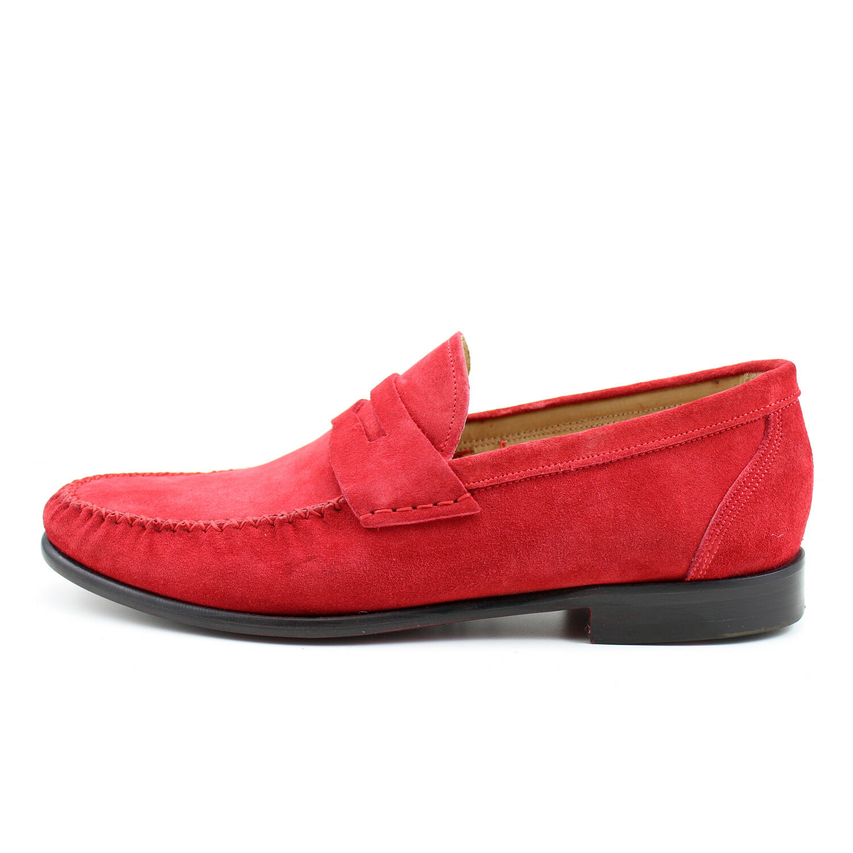 Men's mocassin red leather shoes handmade Italian elegant GIORGIO REA 7757RO