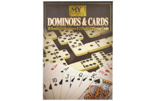 Double Six Dominoes /& 2 Packs of Playing Cards Board Games 2 In 1 Games