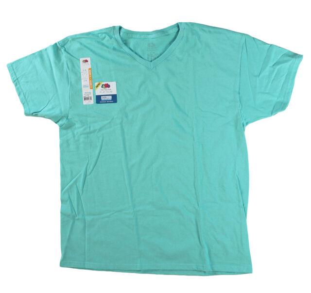 Fruit of the Loom Big Men Eversoft Short Sleeve V Neck T Shirt Scuba Blue 4XL