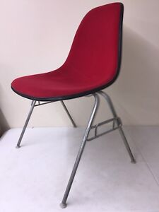 Image Is Loading Eames Herman Miller Chair Upholstered Red School Base