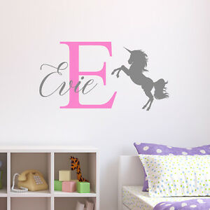 Image Is Loading Personalised Unicorn Wall Sticker Decal Childrens Kids