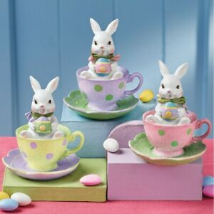 Set-of-3-Easter-Bunny-Rabbits-In-Teacups-Collectible-Table-Sitter-Figurines