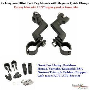 Aluminum-Longhorn-Offset-Footpeg-w-1-1-4-034-Magnum-Clamps-Mounts-For-Harley-Motors