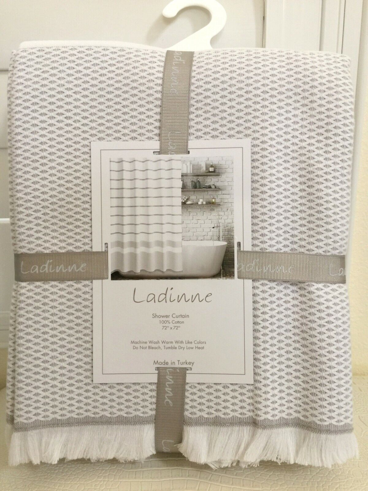 Shower Curtain Fabric By Ladinne Luxury Turkey100 Cotton Taupe White 72x72 New