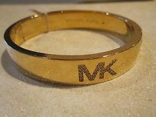 NWT Michael Kors Fulton Logo Bangle Bracelet- Gold Tone w/ Pave Stones-$125