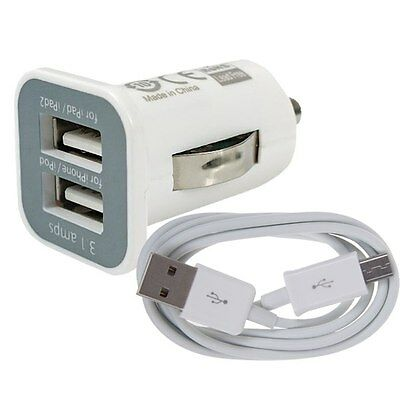 Dual USB Chargeurs de voiture +Data Câble Pour Samsung Galaxy S2 S3 S4 Note 2 LG
