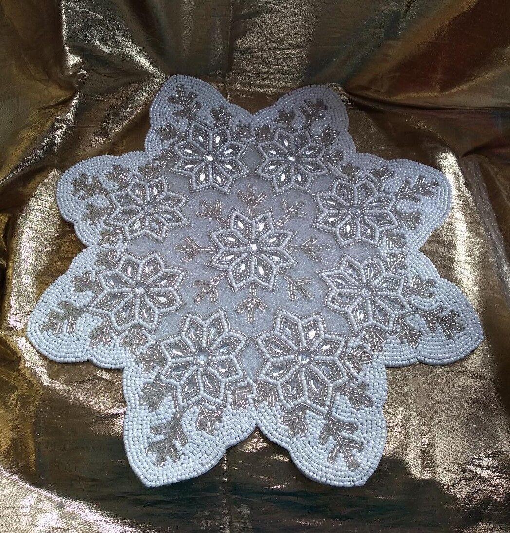 Set d'hiver 6 Blanc Argent Flocon de neige en verre perles cristaux Sets De Table Pièce Centrale
